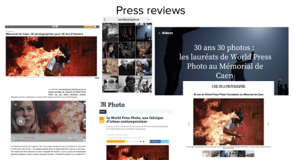 Caen exhibition tear sheets press